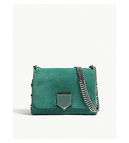 JIMMY CHOO Lockett Petitie suede shoulder bag (Emerald