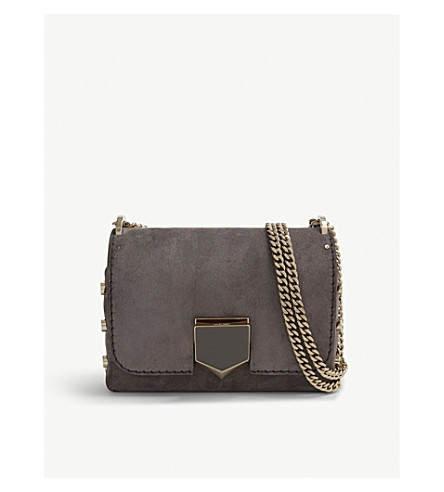 JIMMY CHOO Lockett Petite suede shoulder bag (Dark+grey