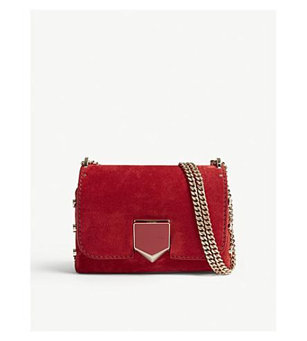 JIMMY CHOO Lockett Petite suede shoulder bag (Red