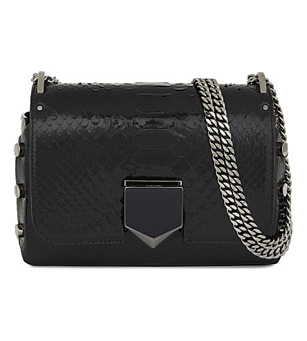 JIMMY CHOO Lockett Petite python cross-body bag (Black