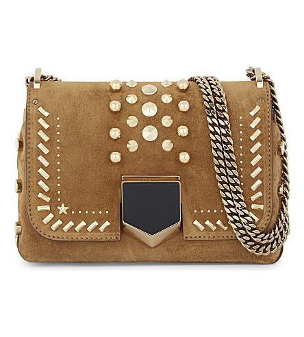 JIMMY CHOO Lockett Petite suede shoulder bag (Hazel+gold