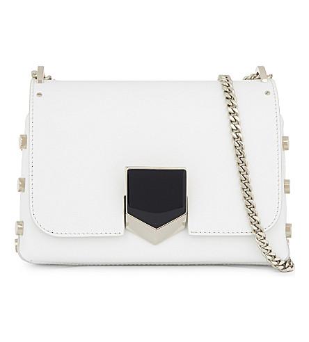 JIMMY CHOO Lockett Petite leather shoulder bag (Optic+white