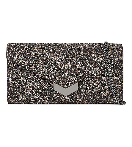 JIMMY CHOO Lucile glitter wallet-on-chain (Bronze
