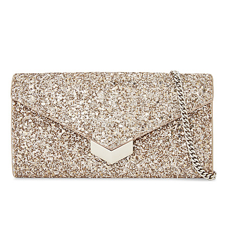 JIMMY CHOO Lucile glitter wallet-on-chain (Ballet+pink