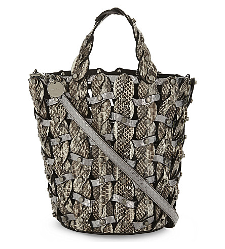 JIMMY CHOO Maxine snakeskin bucket bag (Natural+white