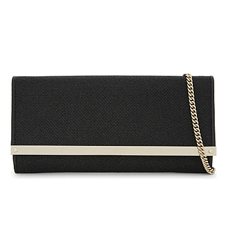 JIMMY CHOO Milla glitter fabric clutch (Black