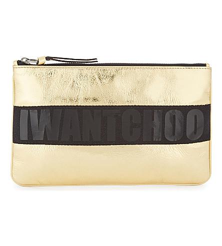 JIMMY CHOO Nina metallic leather coin purse (Gold/black