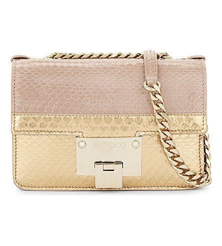JIMMY CHOO Rebel Soft Mini snakeskin cross-body bag (Ballet+pink+gold