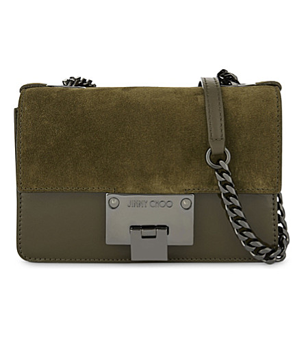 JIMMY CHOO Rebel suede and patent leather cross-body bag (Olive