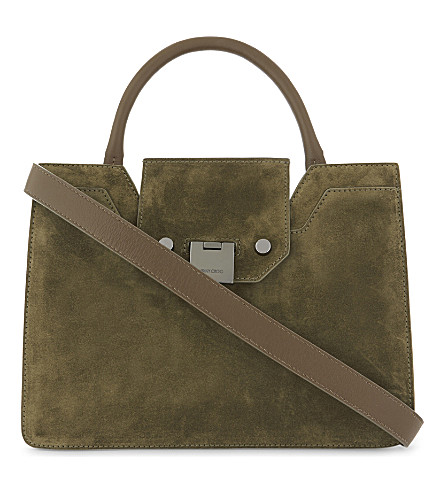 JIMMY CHOO Rebel small suede tote (Olive
