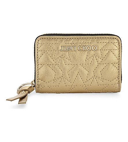 JIMMY CHOO Reid small metallic leather wallet (Gold