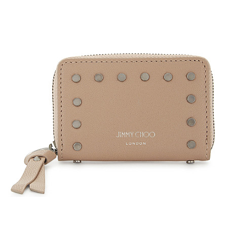 JIMMY CHOO Reid studded small leather purse (Ballet+pink