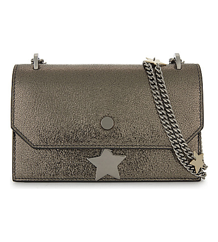 JIMMY CHOO Serena metallic leather cross-body bag (Silver