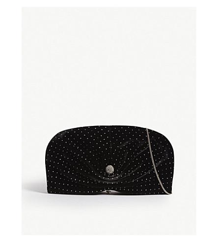 JIMMY CHOO Vivien Clam embellished velvet clutch (Black