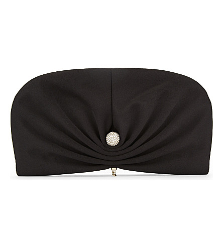 JIMMY CHOO Vivien clam satin clutch (Black