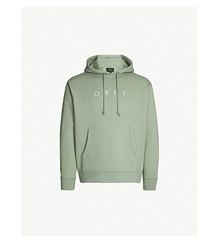 OBEY Nouvelle logo-embroidered cotton-blend hoody (Light sage