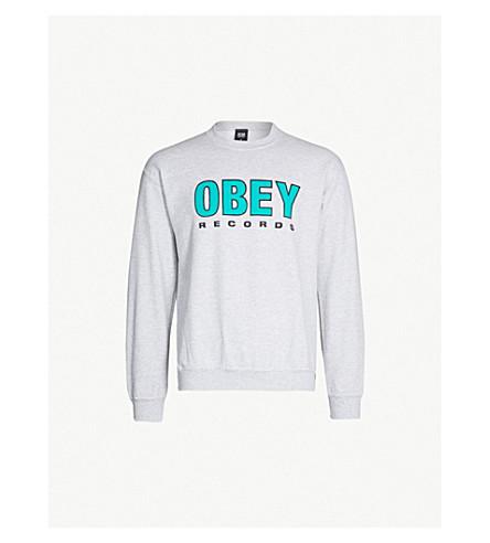 OBEY Logo-print cotton-blend sweatshirt (Ash