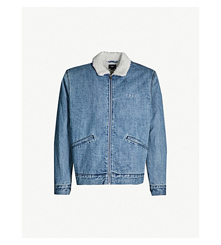 OBEY Relaxed-fit faux-shearling collar denim jacket (Light indigo