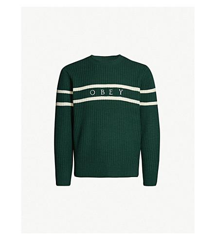 OBEY Roebling contrast-striped waffle-knit sweater (Dark teal multi