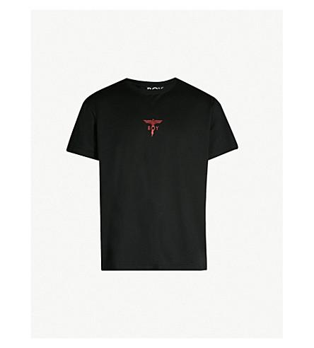 BOY LONDON Glittered lightning-print cotton-jersey T-shirt (Black red gold