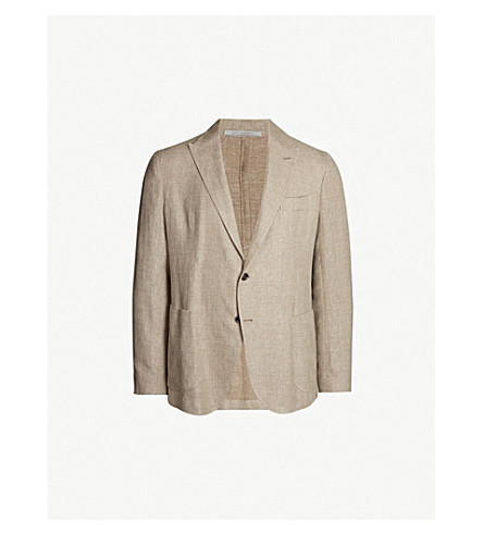ELEVENTY Peak-lapel regular-fit linen, wool and silk-blend blazer (Beige