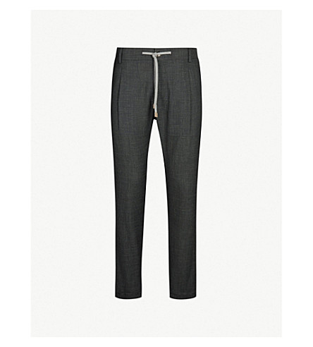 ELEVENTY Drawstring regular-fit straight wool, silk and linen-blend pants (Black