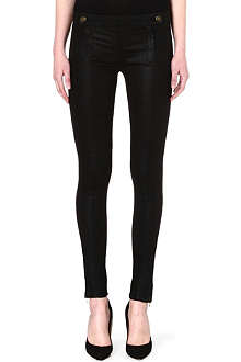 J BRAND Coated skinny mid-rise biker jeans