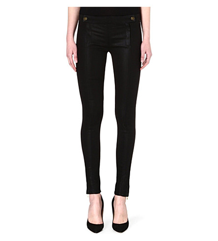J BRAND Coated skinny mid-rise biker jeans (Prophecy