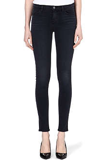 J BRAND The Little Black Jean 620 coated skinny mid-rise jeans