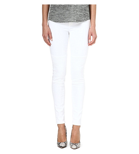 J BRAND 8029 Nicola moto skinny mid-rise jeans (Blanc