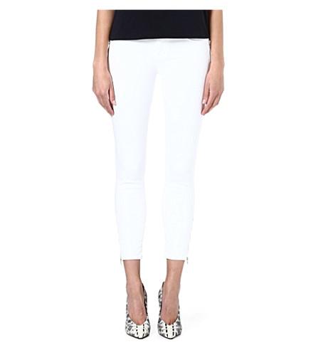 J BRAND Tali Zip slim-fit mid-rise cropped jeans (Blanc