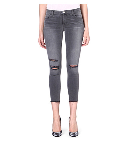 J BRAND 822 cropped skinny mid-rise jeans (Chrome mercy