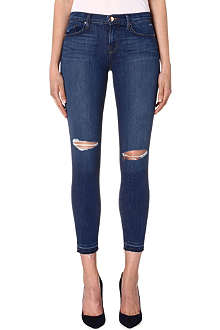 J BRAND Distressed cropped skinny mid-rise jeans