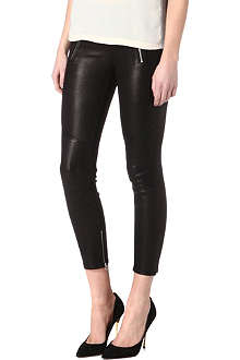 J BRAND Julia leather biker cropped trousers