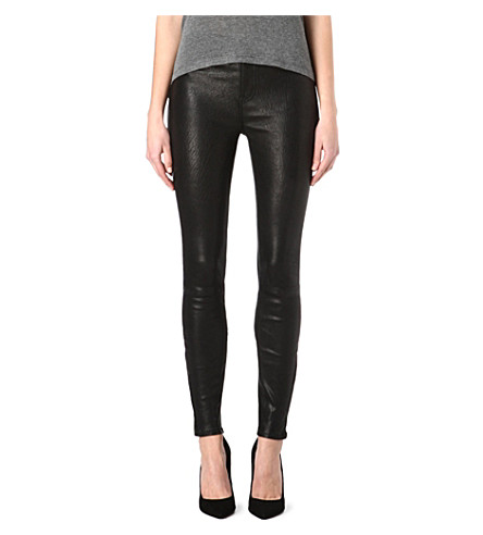 J BRAND L23110 Maria leather skinny high-rise trousers (Noir