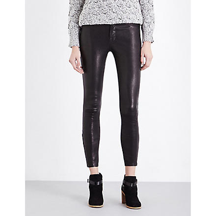 J BRAND L8001 super-skinny mid-rise leather leggings (Noir