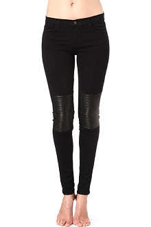 J BRAND 8029 Nicola leather-patch skinny mid-rise jeans