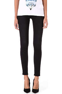 J BRAND Leather stripe skinny mid-rise jeans