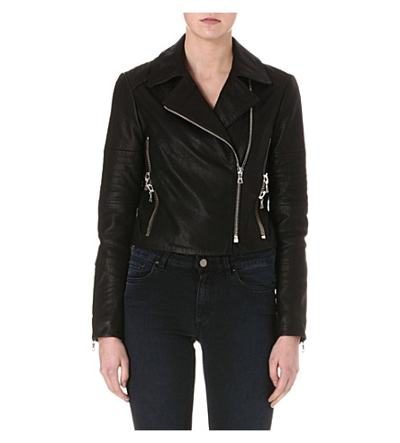 J BRAND FASHION Aiah leather biker jacket (Black