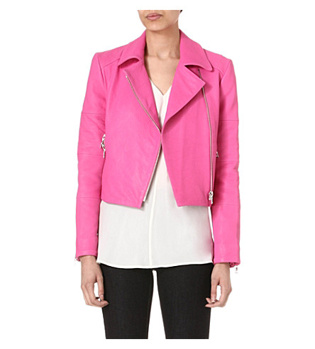 J BRAND FASHION Aiah leather biker jacket (Hibiscus