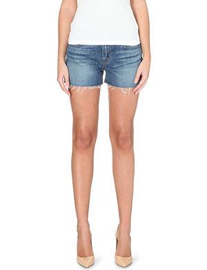 J BRAND Low-rise stretch-denim cut-off shorts