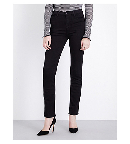 J BRAND Maria straight high-rise jeans (Seriously+black