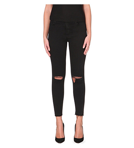 J BRAND Distressed skinny cropped jeans (Offbeat