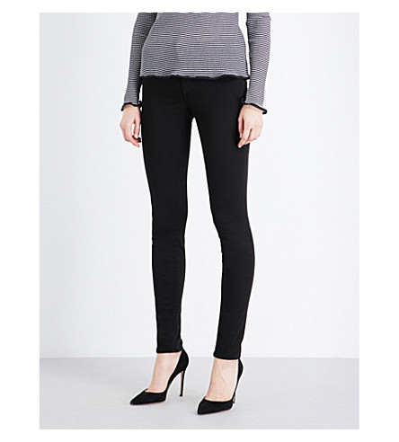 J BRAND 485 Luxe Sateen super-skinny mid-rise jeans (Black