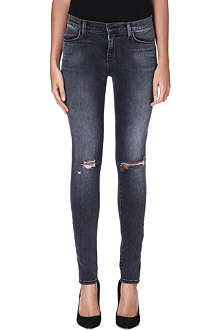 J BRAND Distressed skinny mid-rise jeans