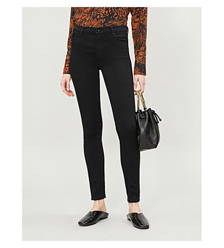 J BRAND 620 Seriously Black super-skinny mid-rise jeans (Seriously+black