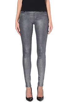 J BRAND Super-skinny mid-rise stacked metallic jeans