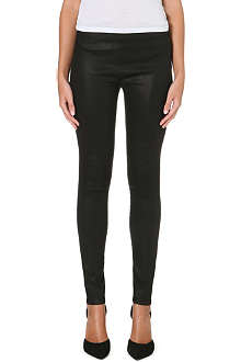 J BRAND Coated super-skinny mid-rise jeans