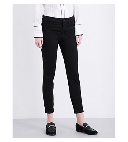 J BRAND Anja mid-rise cropped skinny jeans (Black