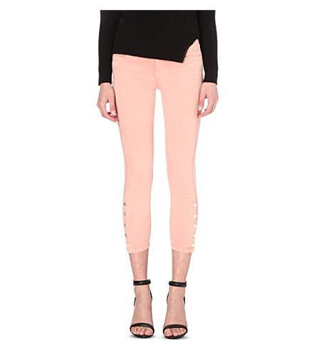 J BRAND Suvi skinny mid-rise jeans (Distressed+pinklace